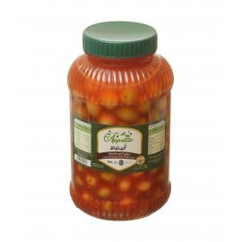 Cracked olives with chilli paste