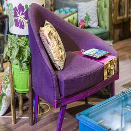 Hand painted and decoupage chair with drawer